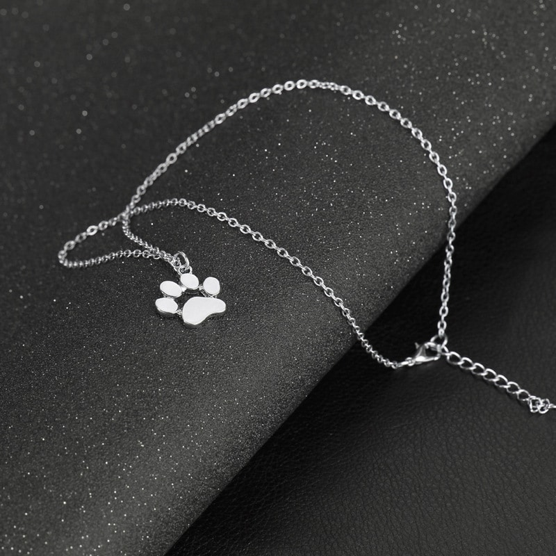 Collier patte de chat couleur argent 2