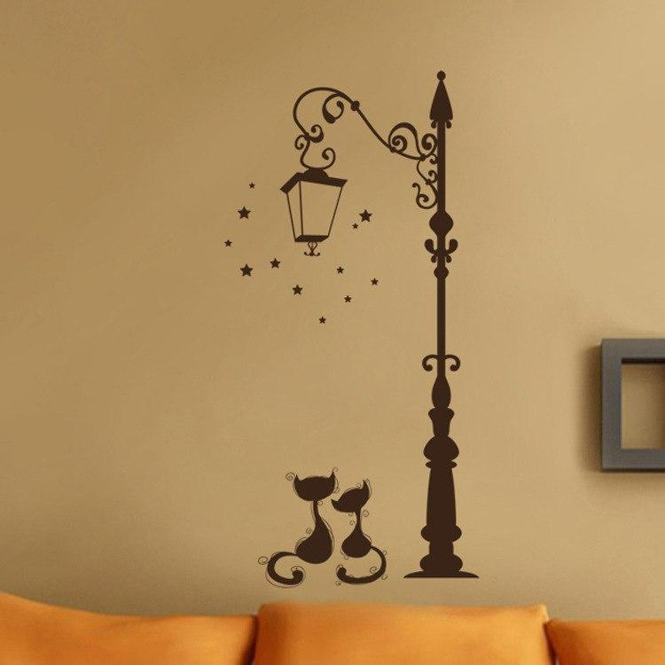 Autocollant mural lampadaire chat
