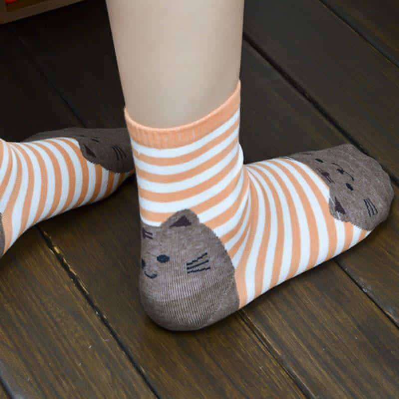 Chaussettes chat rayées 1