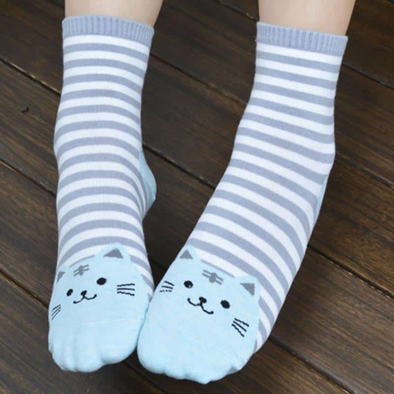 Chaussettes chat rayées 2