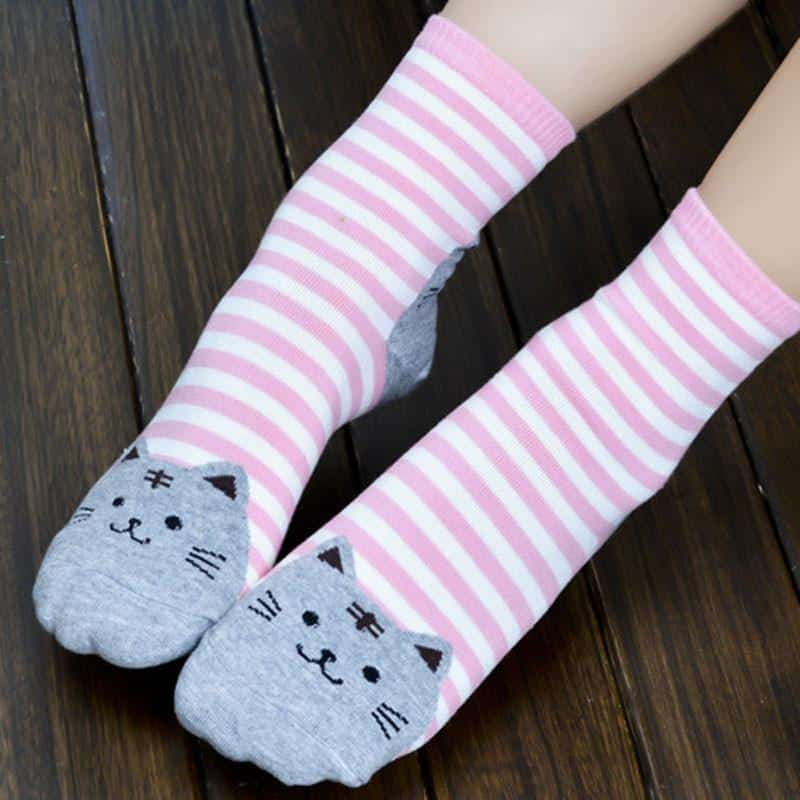 Chaussettes chat rayées 3