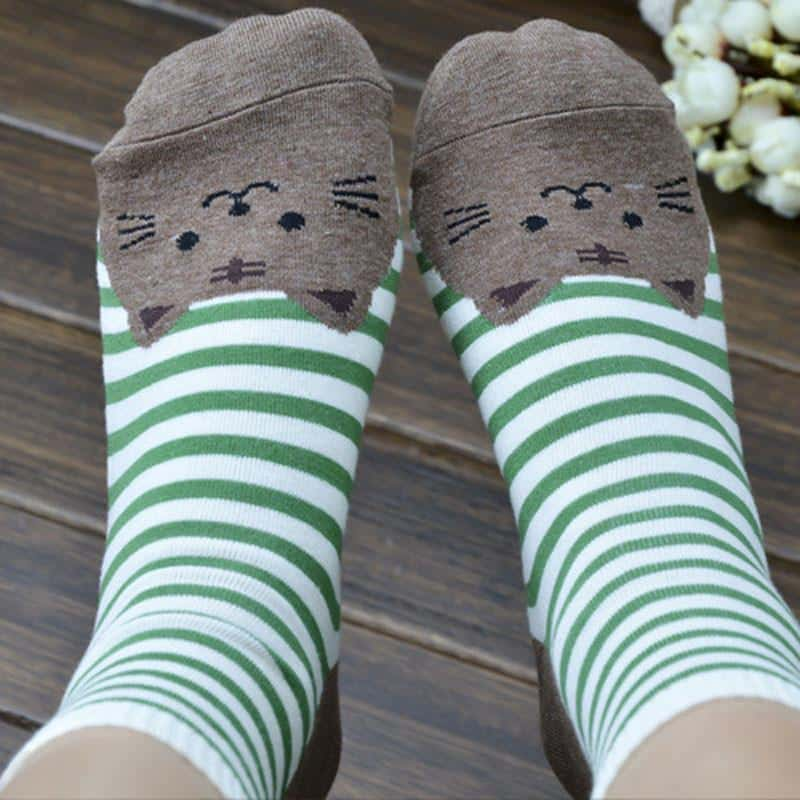 Chaussettes chat rayées 4