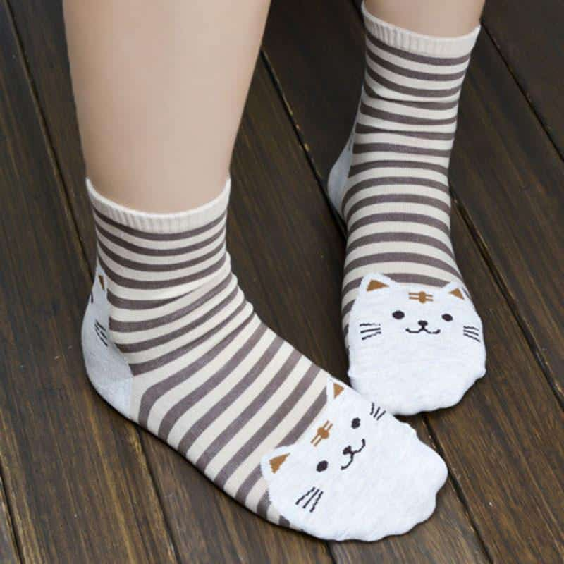 Chaussettes chat rayées 6
