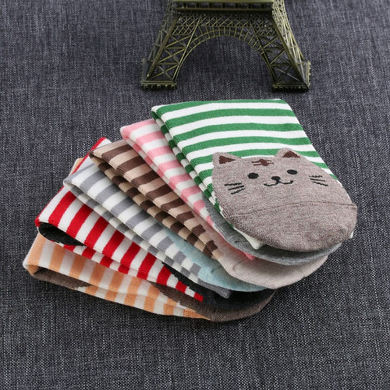Chaussettes chat rayées