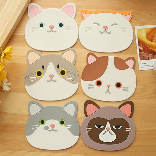 Sous Tasse Chat en Silicone lot