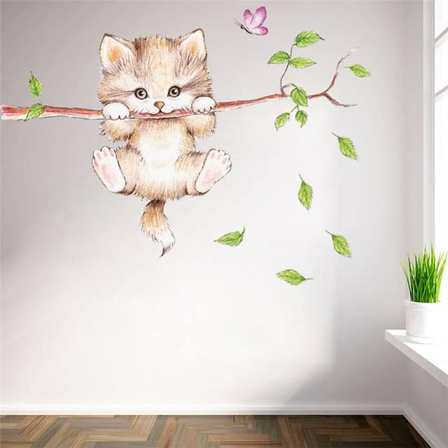 sticker mural chaton l 39 arbre univers chat. Black Bedroom Furniture Sets. Home Design Ideas