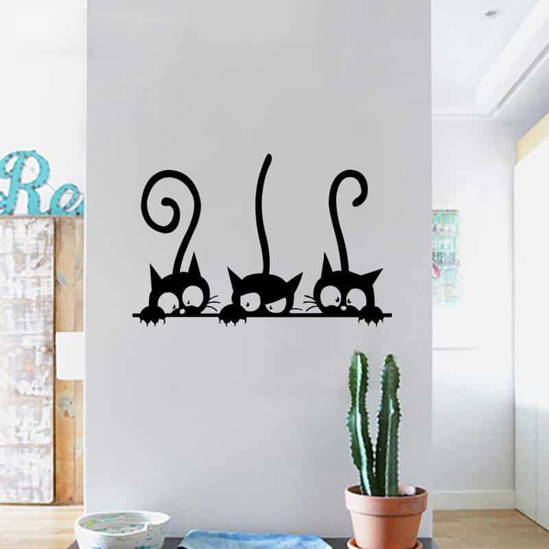Sticker Mural un trio de chat sur mur