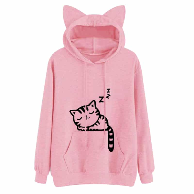 Sweat à capuche oreilles de chat dormeur rose