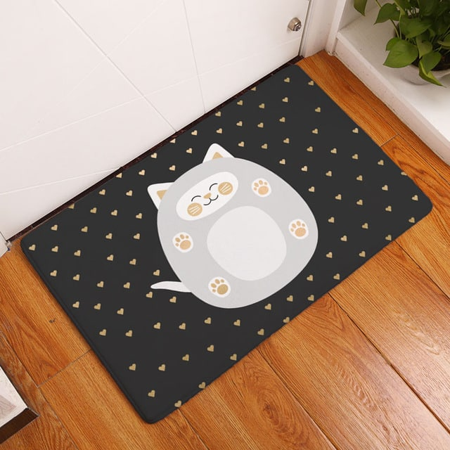 Tapis chat rond noir