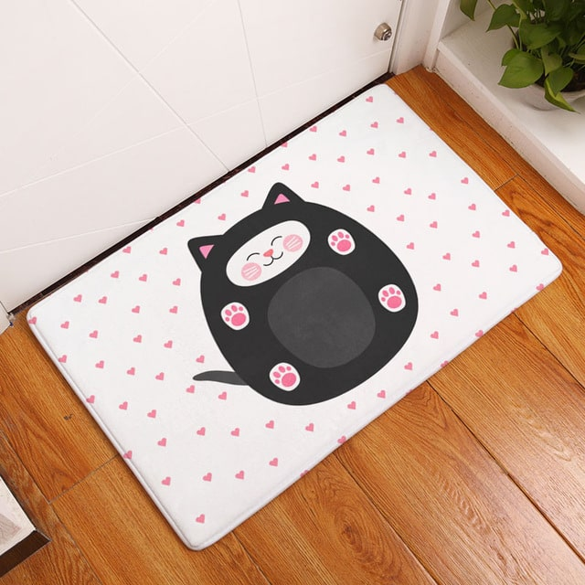 Tapis chat rond rose
