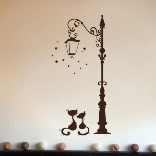 Autocollant mural lampadaire chat 3