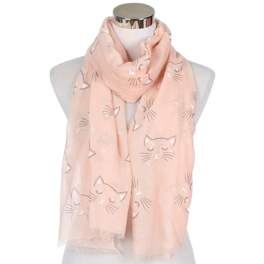 Foulard chat paisible rose