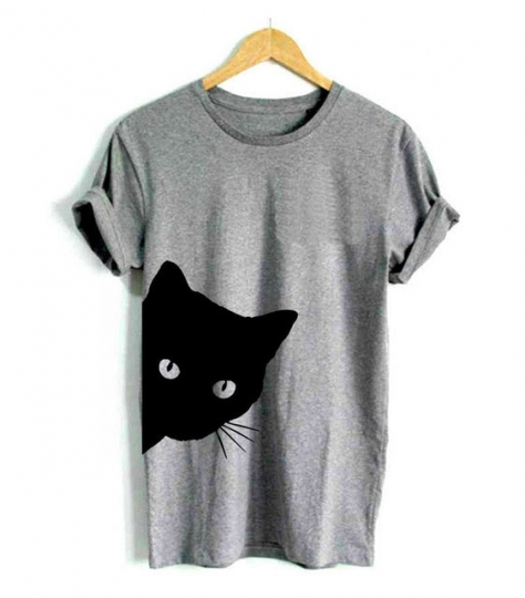 T-shirt tête de chat gris